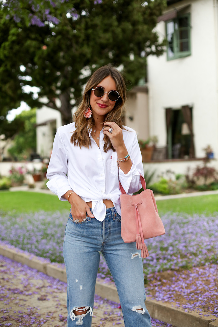 knotted white collared shirt