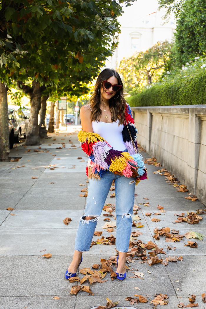 colorful fringe jacket