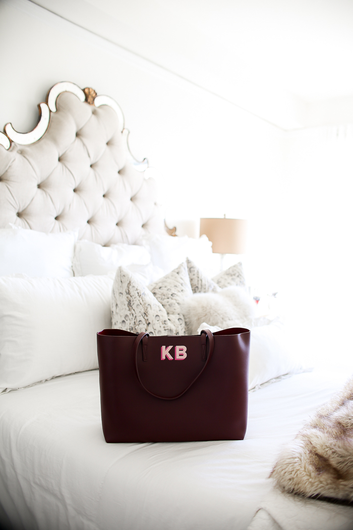 personalized leather tote