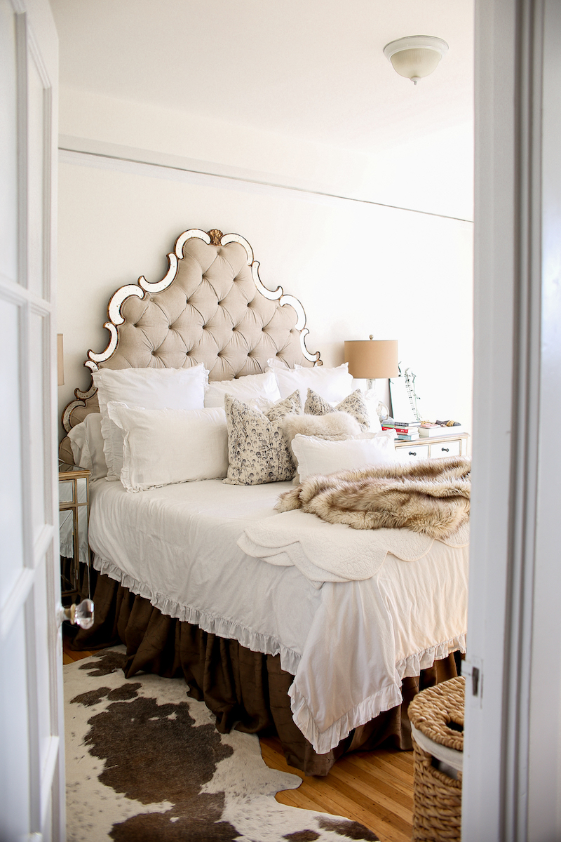beige tufted headboard