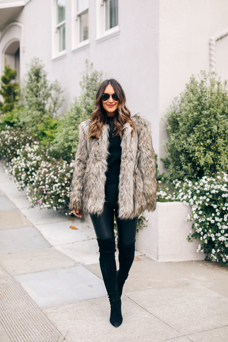 vince camuto brown faux fur jacket