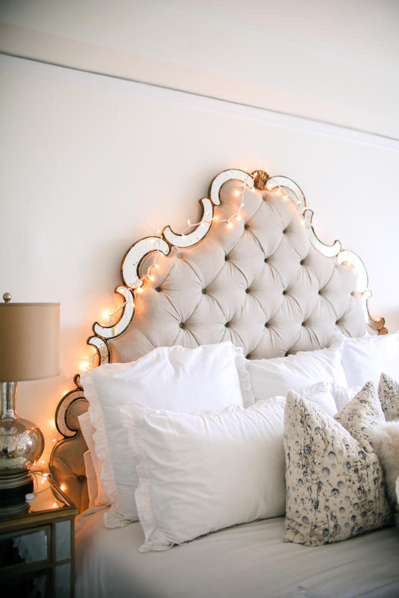 christmas lights on headboard