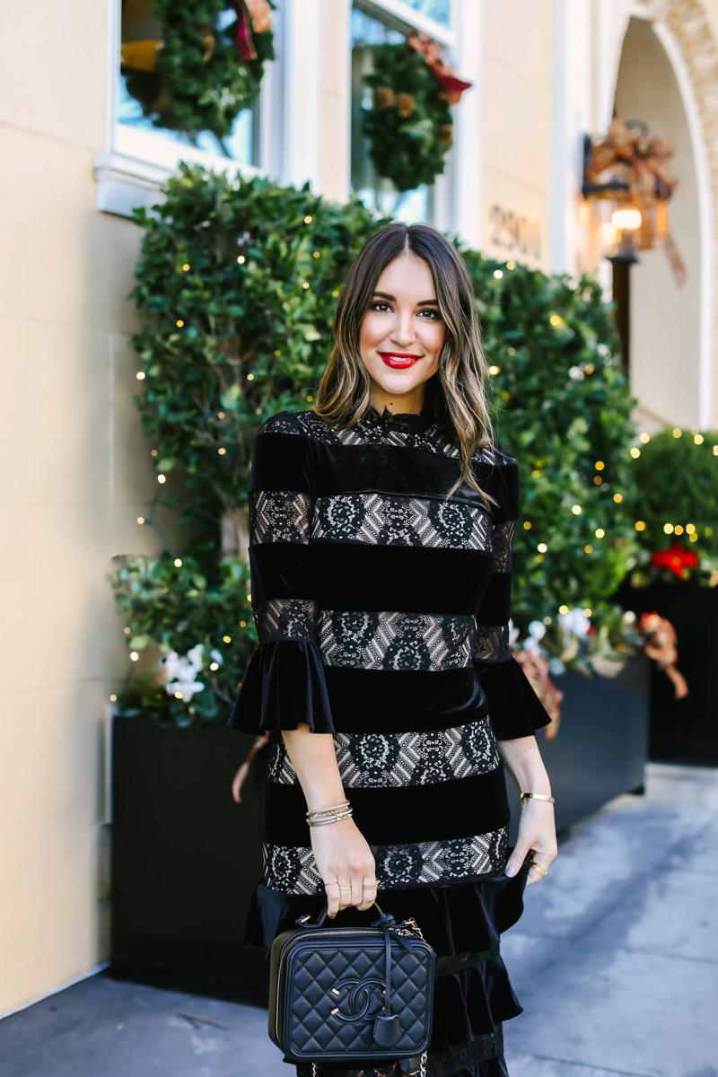 velvet striped dress