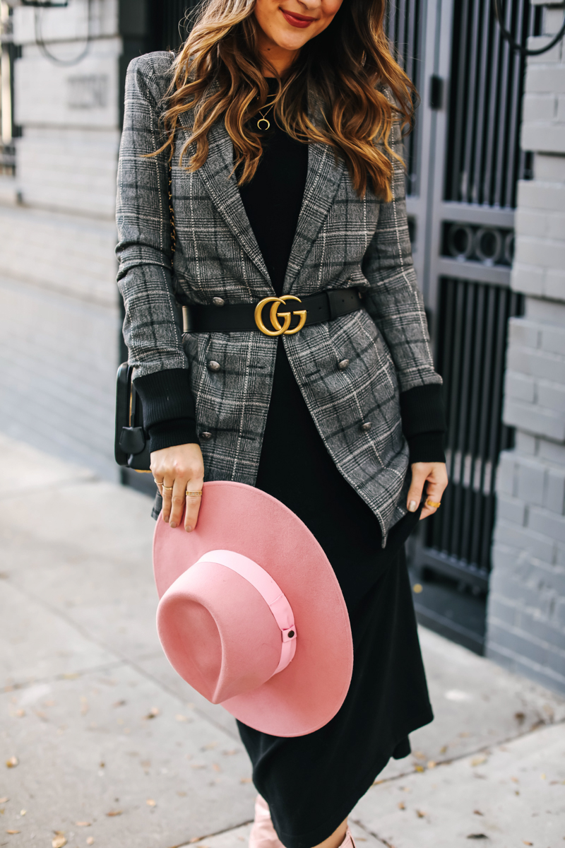 wide brim pink hat