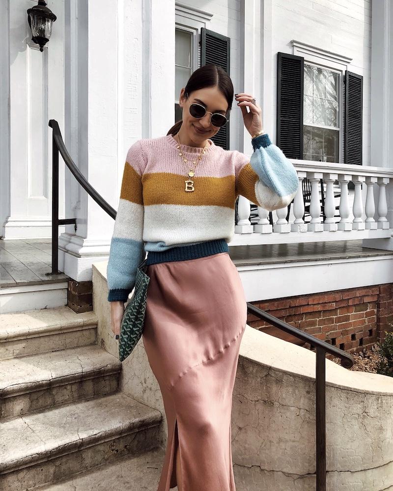 pink silk skirt