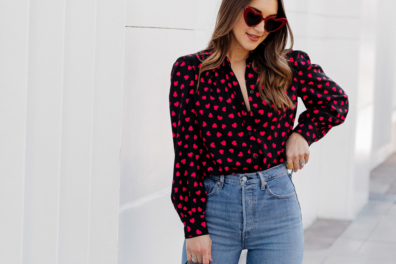 red heart blouse