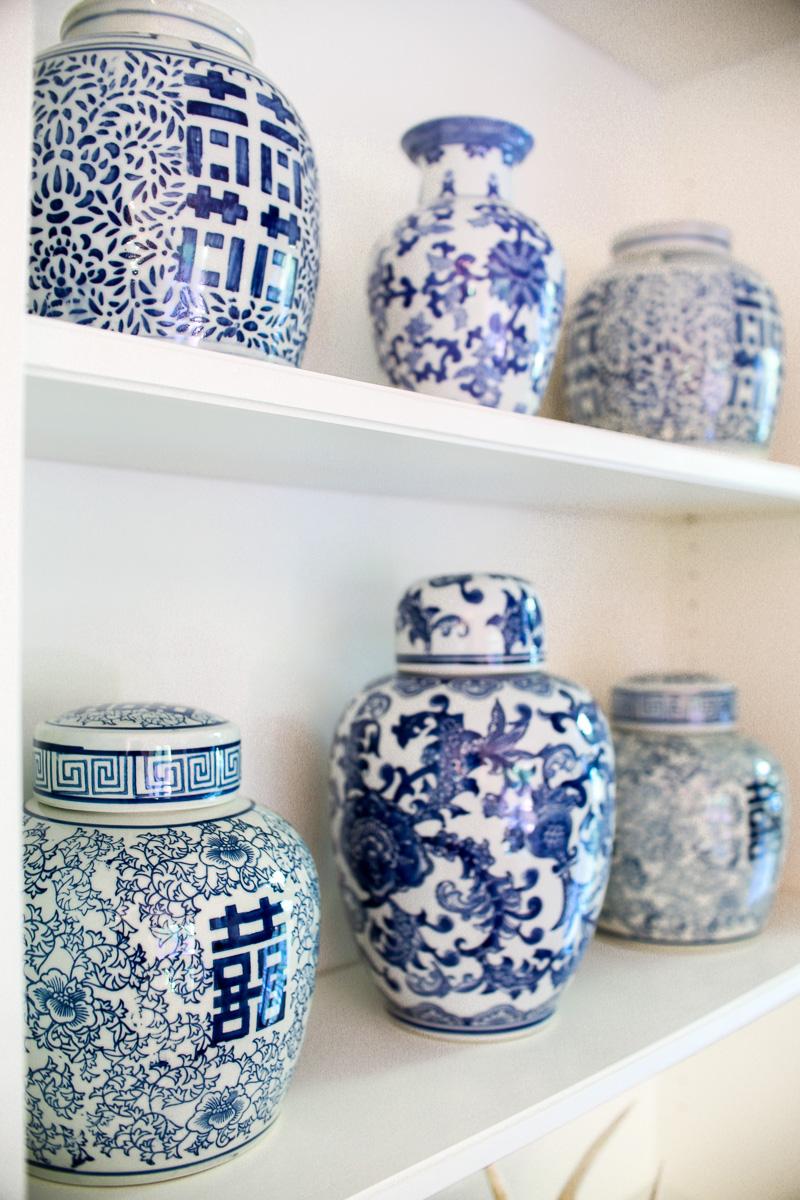 ginger jars on shelves