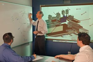 Engineering team reviewing DFMA techniques