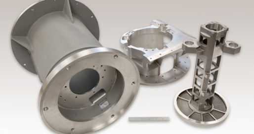 Group of multiple different precision machined parts and components with tight tolerances