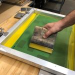 squeegee on silk screen