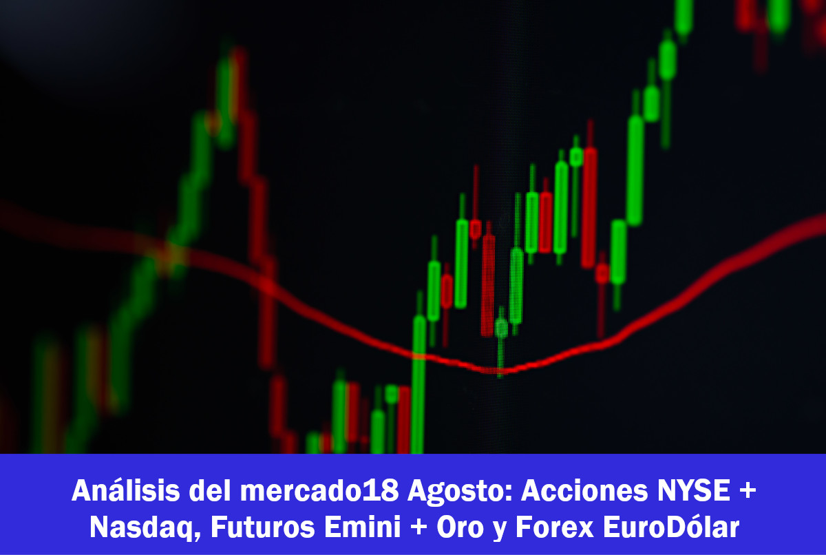 Análisis del mercado18 Agosto: Acciones NYSE + Nasdaq, Futuros Emini + Oro y Forex EuroDólar