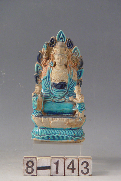 Enamel colored Kwan-yin with lads