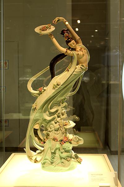 Add color Flying Goddess figure porcelain sculpture