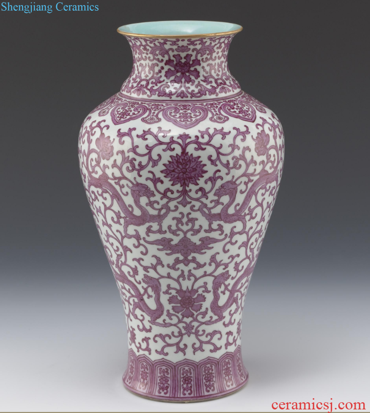 Vase with Red Floral Spray and Dragon Design