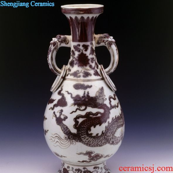 Yuanjingdezhen kiln glaze red cloud dragon ring ear bottle