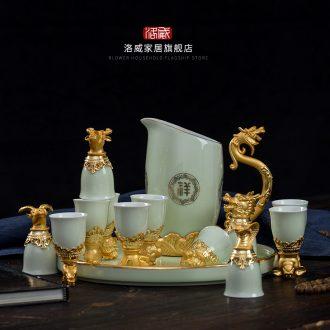 Jingdezhen ceramic teapot cool household girder kettle pot teapot high-capacity old large cold suit kettle