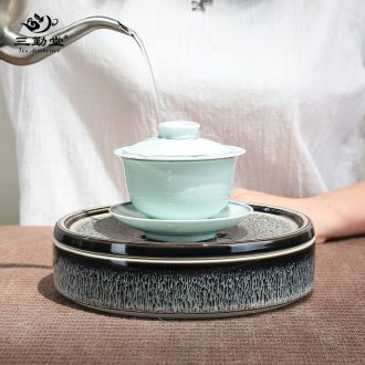The three frequently coppering.as crack cup a pot of two cup of silver Portable hand grasp pot was suit jingdezhen ceramics TZS259