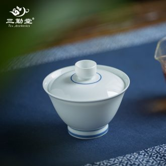 The three frequently white porcelain teapot Jingdezhen ceramic kung fu tea tea filter hand grasp S21004 pot of single pot
