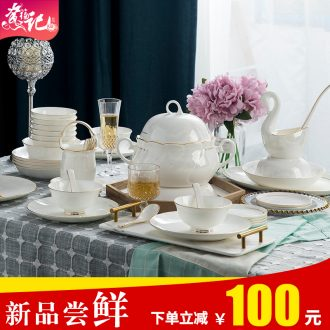 Blue and white porcelain tableware suit Chinese dishes suit of jingdezhen ceramic glair dishes suit ikea bowl with a gift
