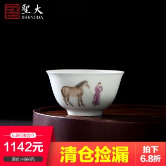 Holy big ceramic hand-painted master cup all hand blue-and-white mandarin duck individual cup of jingdezhen kung fu tea sample tea cup