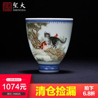 A clearance rule Right as teacups hand-painted ceramic kungfu pastel five old personal cup all hand jingdezhen single cup