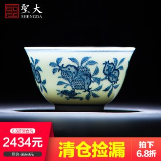 A clearance rule Teacups hand-painted ceramic kungfu pastel taoyuan three sworn personal master cup jingdezhen by hand