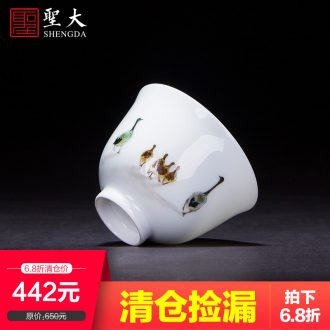 Clearance rule ceramic kung fu tea master cup hand-painted pastel radish cabbage cylinder cup jingdezhen tea cup