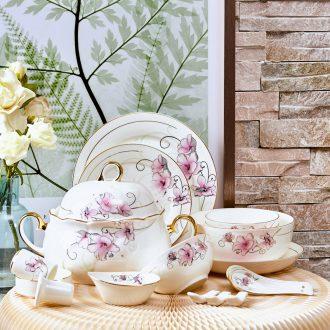Far industry high-grade bone China tableware suit Jingdezhen porcelain bowl plate 82 head of european-style luxury gift set