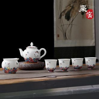 Jingdezhen your kiln azure glaze on kung fu teacups hand-painted cranes individual cup sample tea cup single cup by hand