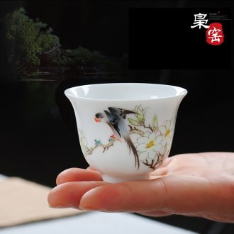 Jingdezhen ceramic painting of flowers and individual cup single cup colored enamel sample tea cup masters cup hand-painted butterfly kung fu tea cups