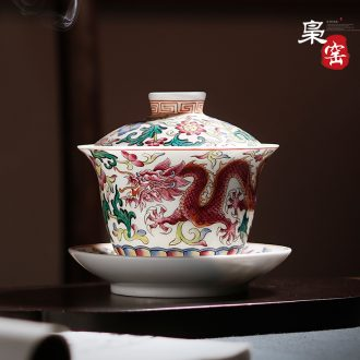 Owl kiln Jingdezhen famille rose tea sets twelve god of tea cups Hand-painted ceramic individual small sample tea cup