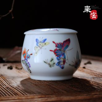 Manual thin foetus ceramic sample tea cup pastel heavy hand-painted kung fu tea cups individual cup single cup of jingdezhen tea service