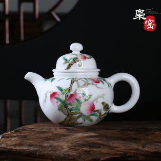 Jingdezhen ceramic hand-painted enamel teapot manual snow jade porcelain teapot small household kung fu tea pot