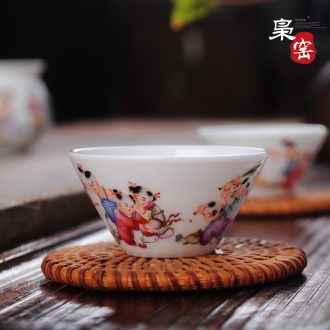 Owl kiln da Ming chenghua bucket color archaize of jingdezhen porcelain cups all hand tea cross cup
