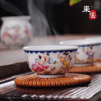 Owl kiln XY - CJ287C flowers don't open hand-painted ceramic tea holder Kung fu tea tea ceremony Tea spoon teaspoon