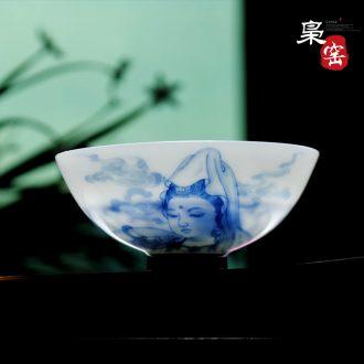 XY - CJ312C owl kiln jingdezhen fine ceramic famille rose tea set the eight immortals characters play kung fu tea set, tea POTS