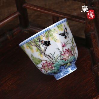 Jingdezhen ceramic kung fu tea cups Manual wire inlay sample tea cup tea Colored enamel lotus master cup single cup
