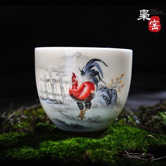 Jingdezhen ceramic cups with cover glass office Large tea cup hand-painted colored enamel glass cup meeting