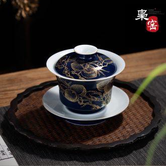 Jingdezhen ji blue tureen Ceramic kung fu tea set three tureen Hand-painted paint tea bowl bowl by hand