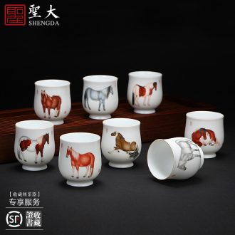 A clearance rule Blue-and-white ceramics kung fu tea sample tea cup ssangyong wear flower ruyi cup of jingdezhen tea service master