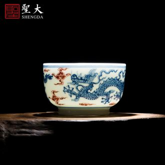 Holy big blue and white landscape teacups hand-painted ceramic kung fu masters cup sample tea cup full manual of jingdezhen tea service