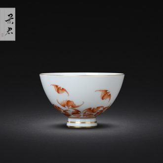 Jingdezhen hand-painted colored enamel sample tea cup single cup scene emperor people cup kung fu tea cups small cup a cup of tea