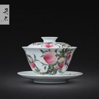 Jingdezhen ceramics ji blue glaze hand-painted colored enamel paint branch flowers tureen lid cup kung fu tea set
