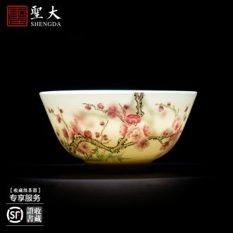 Santa teacups hand-painted ceramic kungfu pastel blue fight a peach lines lie fa cup manual of jingdezhen tea service
