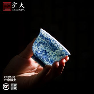 Holy big ceramic bowl with hand-painted antique blue-and-white phase lines lie foot bubble green treasure bowl full manual of jingdezhen tea service