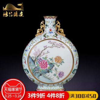 Spring of jingdezhen ceramics imitation qing qianlong pastel LuHe with garlic vase collection of Chinese style household furnishing articles