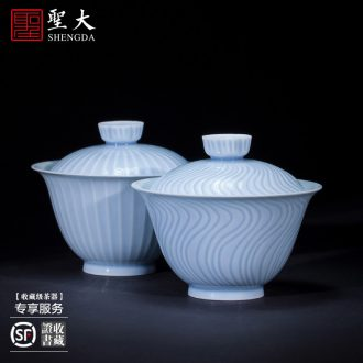 Holy big ceramic kung fu masters cup hand-painted porcelain cups double lion moire sample tea cup all hand of jingdezhen tea service