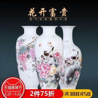 Jingdezhen enamel painted pottery porcelain floret bottle of flower arranging Chinese archaize sitting room adornment home furnishing articles TV ark
