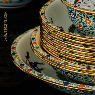 Bone China tableware suit European phnom penh Jingdezhen system 60 head of pottery and porcelain bowl dish dish suits High-end gifts