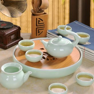 Yellow jingdezhen tea set suit household kung fu tea cups large circular double teapot tea tray of a complete set of ceramics